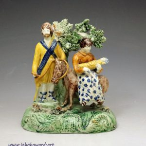Antique English pottery bocage figure Group Flight to Egypt in Pratt colours late 18th century