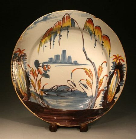 Antique English Pottery Delftware Dish with Swans on Lake mid 18th century