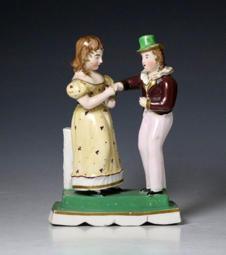Staffordshire figure group of a boy and girl English circa 1835