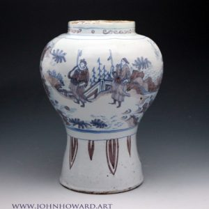 Delftware vase, Ming style decoration in blue and manganese. Late 17th century