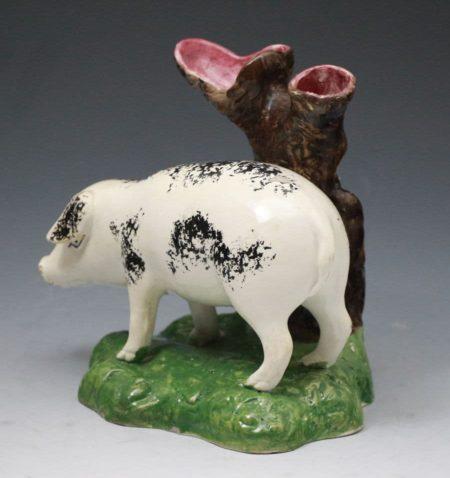 Antique pottery figure of a pig Portobello Pottery Scotland early 19th century