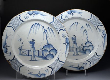English blue and white delftware pottery chargers  18th century