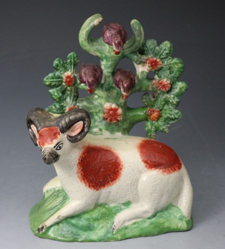 Staffordshire pottery ram and ewe figures the bocage with  perched birds