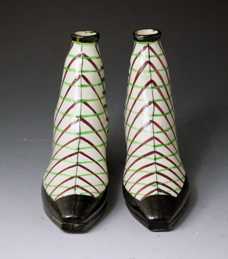 Pair of pottery boot spirit flasks  Scotland 19th century
