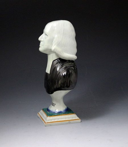 Yorkshire pottery bust of Wesley founder of Methodism early 19th century