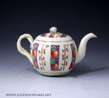Creamware pottery chintz decorated teapot probably Leeds Pottery Yorkshire 18th century