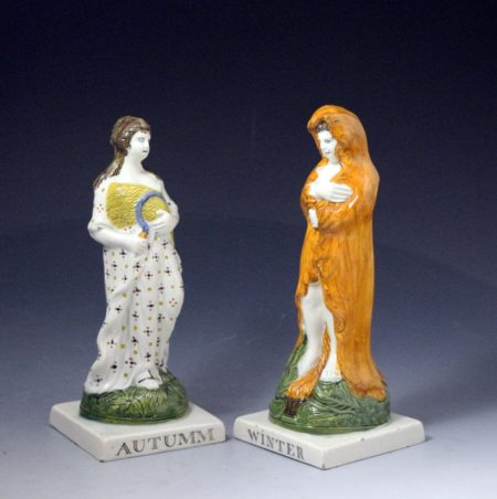 Four Seasons by Dixon Austin  Sunderland Prattware colours made early 19th century