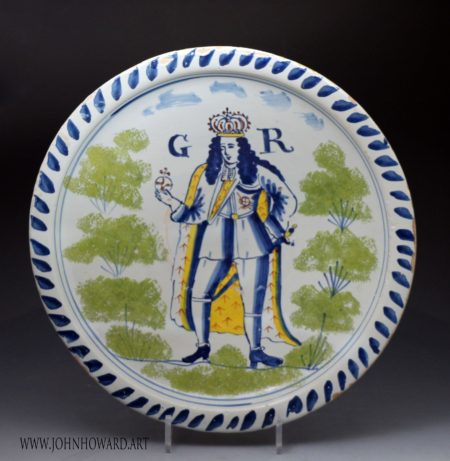 English delftware blue dash charger  King George 1