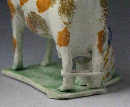 Cow creamer figure Yorkshire pottery rare hobbled leg version early 19thc