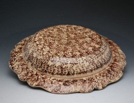 Large pottery tortoiseshell decorated dish Whieldon style 18th century Staffordshire .