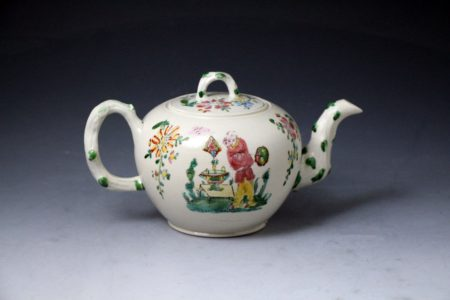 English stoneware saltglaze teapot Staffordshire mid 18th century