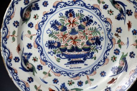 English delftware charger polychrome colours Bristol Works 18th century