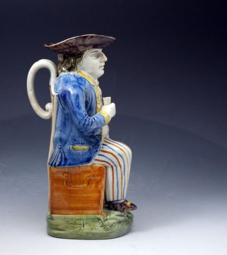 Antique Staffordshire pottery Prattware Toby Jug of Sailor late 18th century period England.