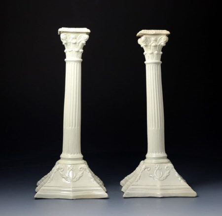 Antique English pottery classical form creamware  candlesticks late 18th century