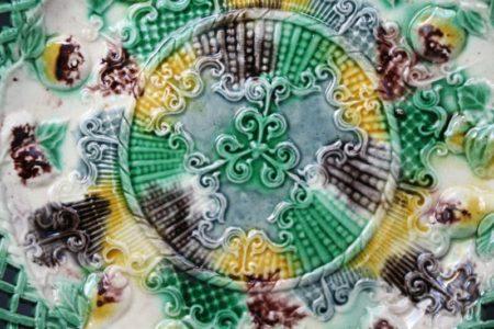 Antique English cream coloured pottery Whieldon type plate 18th century.