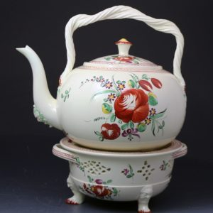 Antique creamware pottery punch kettle with stand English 18th century.Leeds Yorkshire