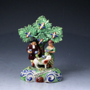 Staffordshire Walton  pearlware figure group  Tenderness early 19th century