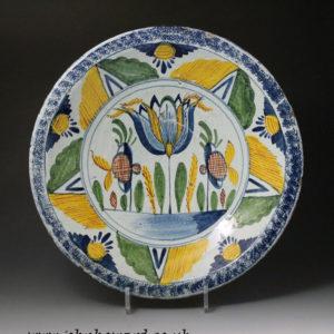 English delftware pottery tulip charger Bristol or Brislington  antique period  18th century.