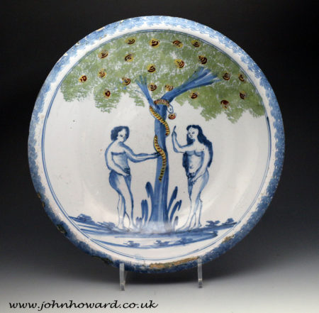 English delftware Adam and Eve Charger from Franks Pottery Bristol 18th century