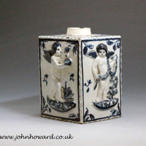 Antique English pottery tea caddy from Bovey Tracey Devon 18th century