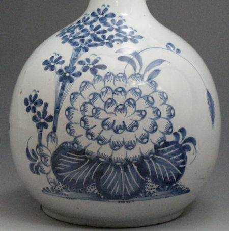 An English delft guglet bottle vase in blue and white mid 18th century