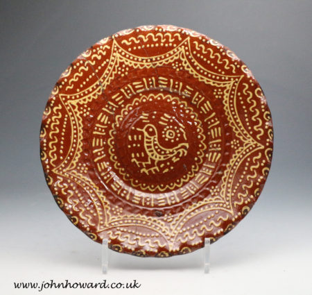 Slipware pottery dish 18th century profusely decorated circa 1750