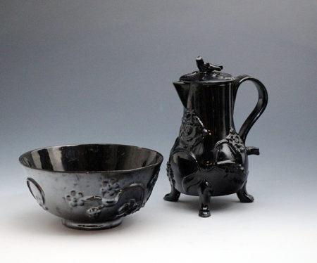 Early English pottery Jackfield black-ware tea and coffee set mid 18th century Staffordshire
