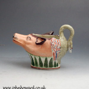 Staffordshire pottery zoomorphic sauce boat  antique period early 19th century
