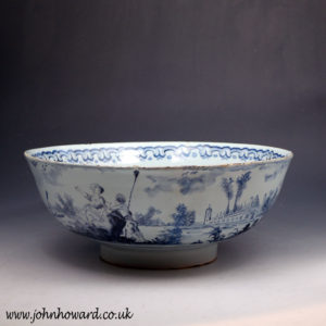 English delftware blue and white bowl  Lambeth delftworks London 18thc