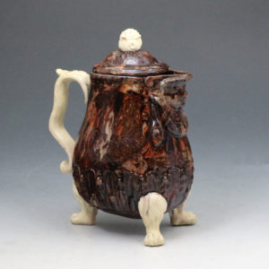 Agateware pottery chocolate pot with cover 18th century