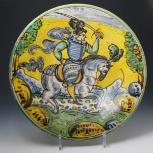 Montelupo maiolica pottery equestrain charger 17th century Italy