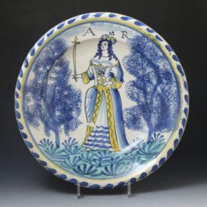 English delftware blue dash Queen Anne charger  circa 1705 London