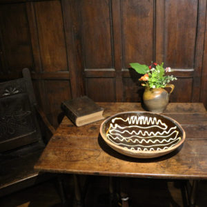 Large English earthenware slipware baking dish 18th century